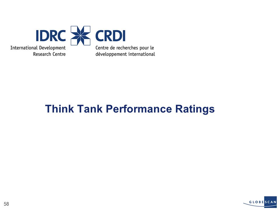 58 Think Tank Performance Ratings