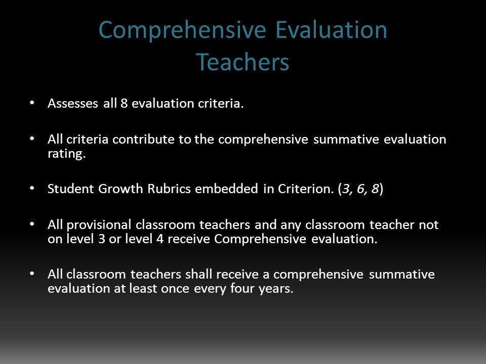 Comprehensive Evaluation Teachers Assesses all 8 evaluation criteria.
