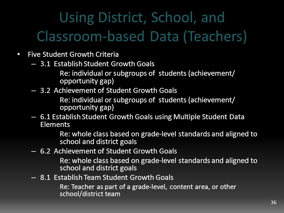 Using District, School, and Classroom-based Data (Teachers) Five Student Growth Criteria – 3.1 Establish Student Growth Goals Re: individual or subgroups of students (achievement/ opportunity gap) – 3.2 Achievement of Student Growth Goals Re: individual or subgroups of students (achievement/ opportunity gap) – 6.1 Establish Student Growth Goals using Multiple Student Data Elements Re: whole class based on grade-level standards and aligned to school and district goals – 6.2 Achievement of Student Growth Goals Re: whole class based on grade-level standards and aligned to school and district goals – 8.1 Establish Team Student Growth Goals Re: Teacher as part of a grade-level, content area, or other school/district team 36