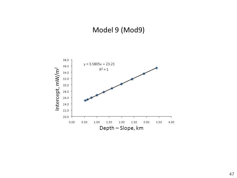47 y = 3.5805x + 23.21 R² = 1 20.0 22.0 24.0 26.0 28.0 30.0 32.0 34.0 36.0 38.0 0.000.501.001.502.002.503.003.504.00 Model 9 (Mod9) Depth – Slope, km Intercept, mW/m 2