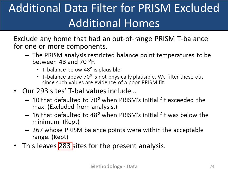 Additional Data Filter for PRISM Excluded Additional Homes Exclude any home that had an out-of-range PRISM T-balance for one or more components.