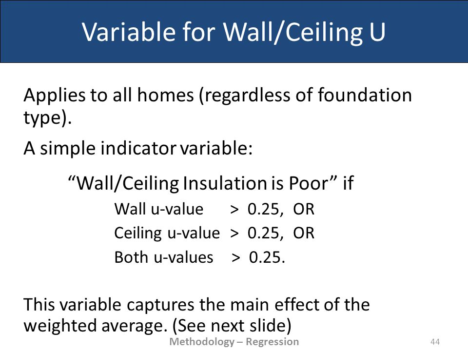 Variable for Wall/Ceiling U Applies to all homes (regardless of foundation type).
