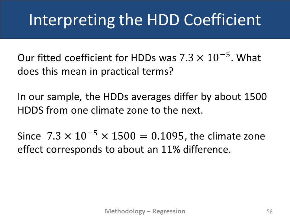 Interpreting the HDD Coefficient 58 Methodology – Regression