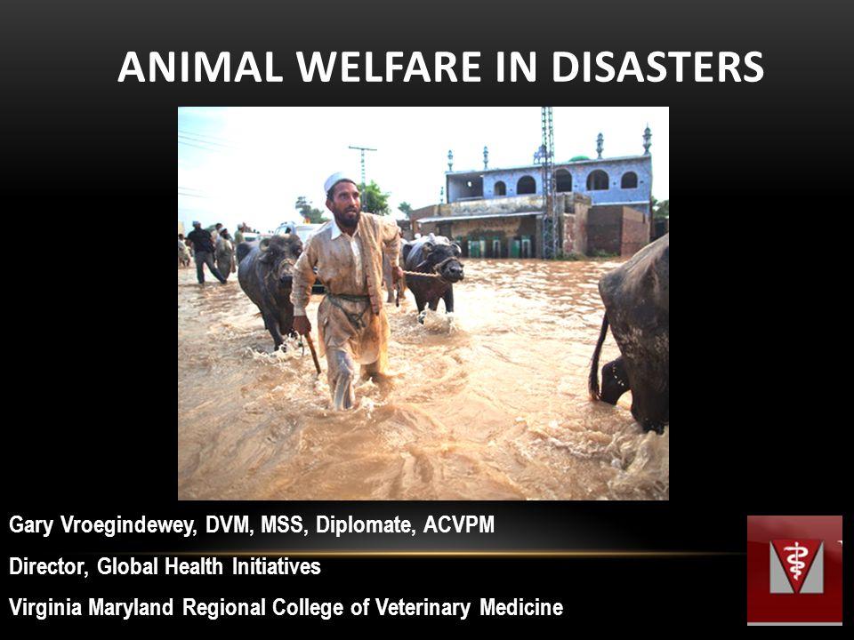 ANIMAL WELFARE IN DISASTERS Gary Vroegindewey, DVM, MSS, Diplomate, ACVPM Director, Global Health Initiatives Virginia Maryland Regional College of Veterinary Medicine