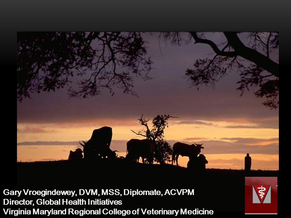 Gary Vroegindewey, DVM, MSS, Diplomate, ACVPM Director, Global Health Initiatives Virginia Maryland Regional College of Veterinary Medicine