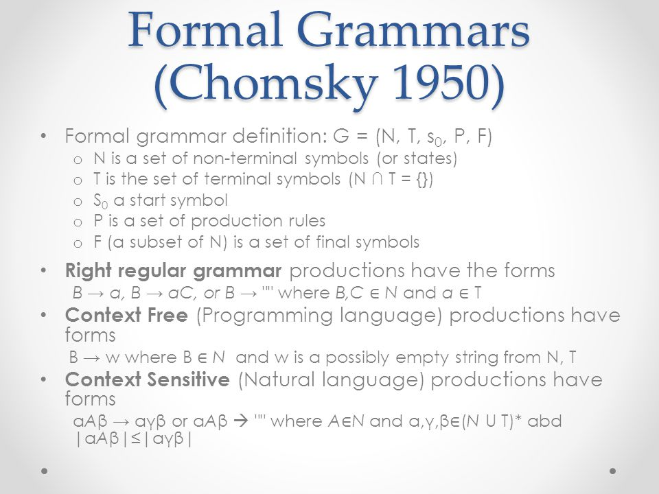 Chomsky Language Hierarchy