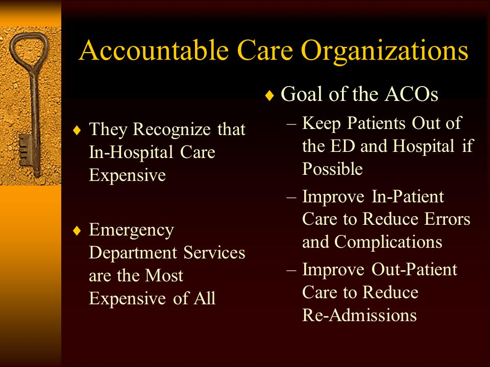 Accountable Care Organizations  They Recognize that In-Hospital Care Expensive  Emergency Department Services are the Most Expensive of All  Goal of the ACOs –Keep Patients Out of the ED and Hospital if Possible –Improve In-Patient Care to Reduce Errors and Complications –Improve Out-Patient Care to Reduce Re-Admissions