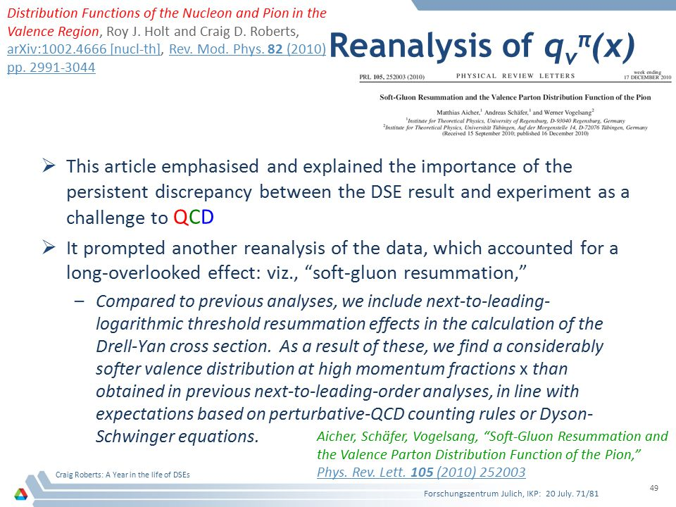 Reanalysis of q v π (x)  This article emphasised and explained the importance of the persistent discrepancy between the DSE result and experiment as a challenge to QCD  It prompted another reanalysis of the data, which accounted for a long-overlooked effect: viz., soft-gluon resummation, –Compared to previous analyses, we include next-to-leading- logarithmic threshold resummation effects in the calculation of the Drell-Yan cross section.