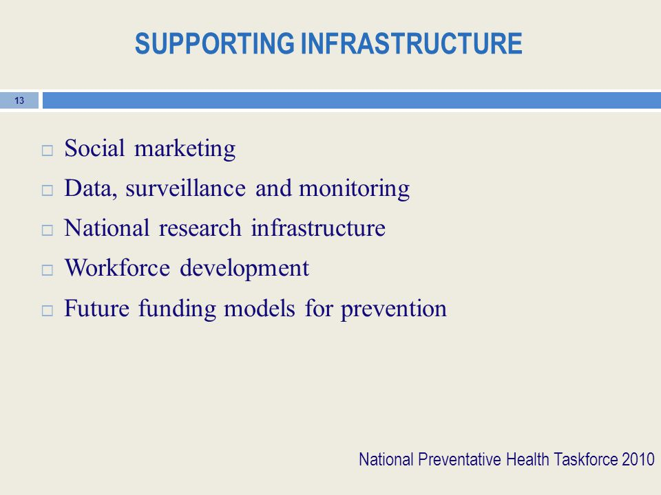 SUPPORTING INFRASTRUCTURE  Social marketing  Data, surveillance and monitoring  National research infrastructure  Workforce development  Future funding models for prevention 13 National Preventative Health Taskforce 2010