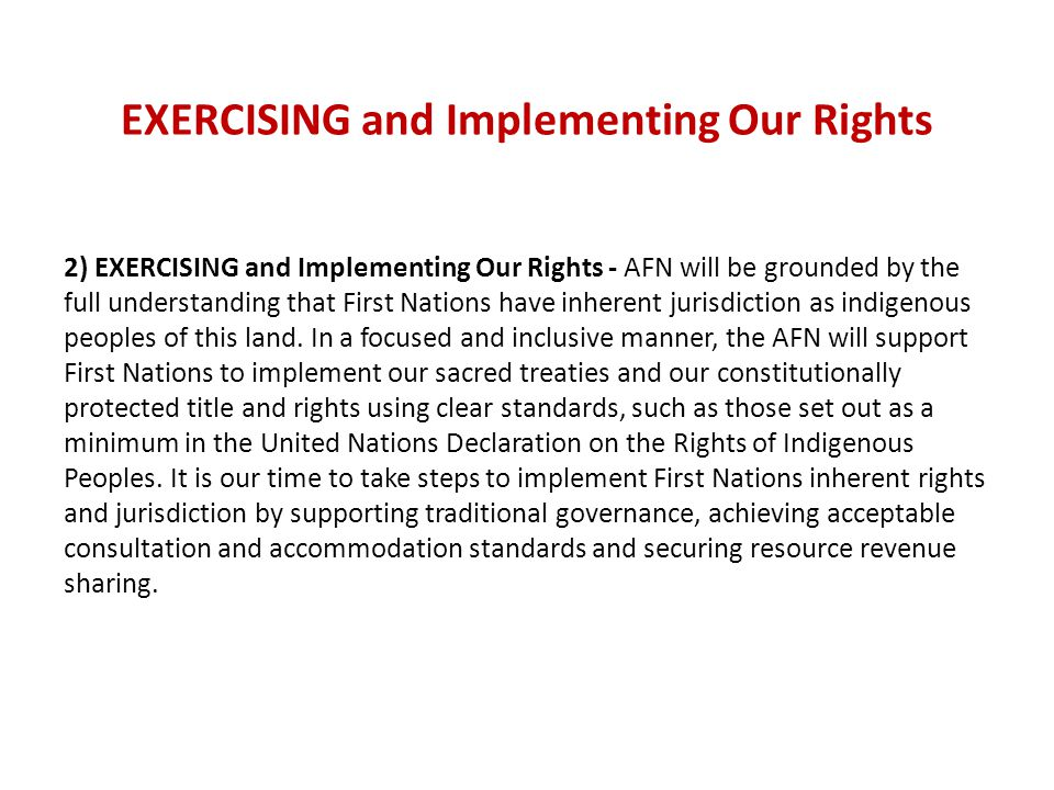 EXERCISING and Implementing Our Rights 2) EXERCISING and Implementing Our Rights - AFN will be grounded by the full understanding that First Nations have inherent jurisdiction as indigenous peoples of this land.