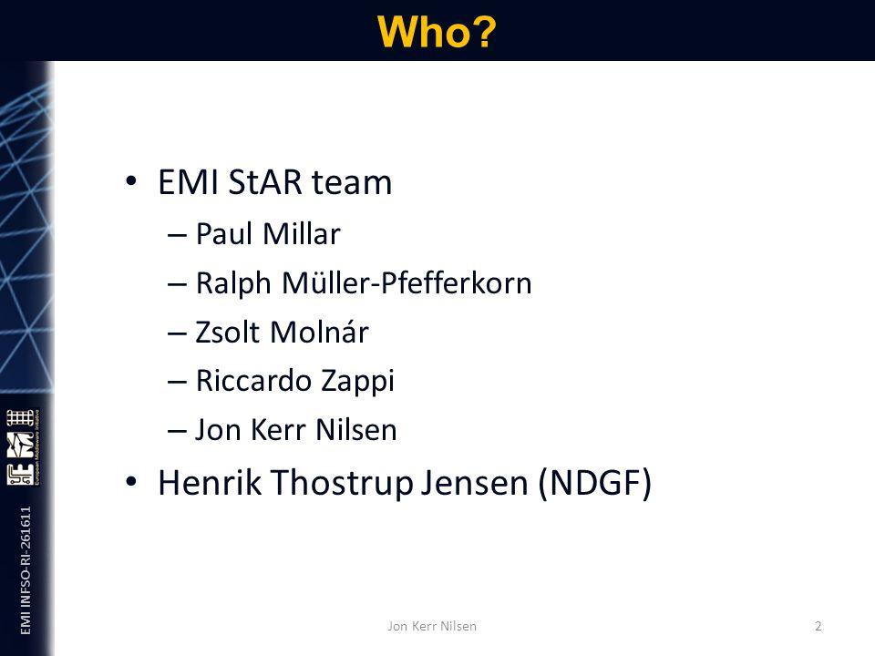 EMI INFSO-RI-261611 EMI StAR team – Paul Millar – Ralph Müller-Pfefferkorn – Zsolt Molnár – Riccardo Zappi – Jon Kerr Nilsen Henrik Thostrup Jensen (NDGF) Who.