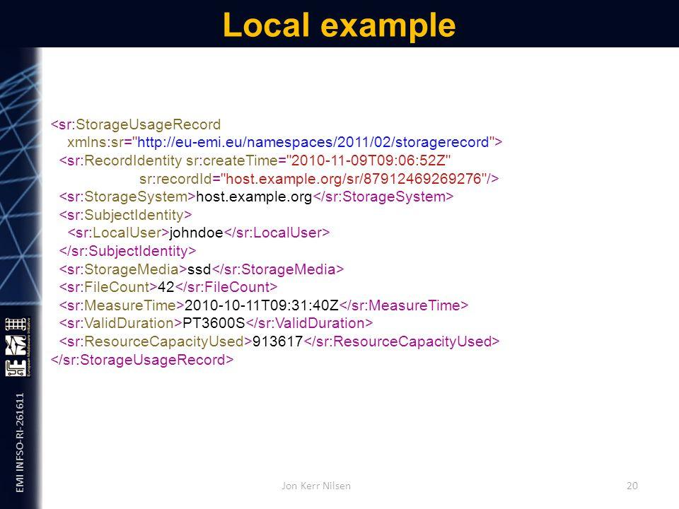 EMI INFSO-RI-261611 Local example Jon Kerr Nilsen 20 <sr:StorageUsageRecord xmlns:sr= http://eu-emi.eu/namespaces/2011/02/storagerecord > <sr:RecordIdentity sr:createTime= 2010-11-09T09:06:52Z sr:recordId= host.example.org/sr/87912469269276 /> host.example.org johndoe ssd 42 2010-10-11T09:31:40Z PT3600S 913617