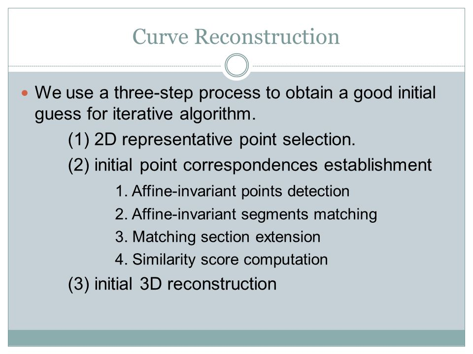 Curve Reconstruction We use a three-step process to obtain a good initial guess for iterative algorithm.