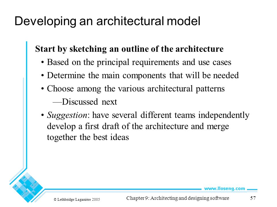 © Lethbridge/Laganière 2005 Chapter 9: Architecting and designing software57 Developing an architectural model Start by sketching an outline of the ar