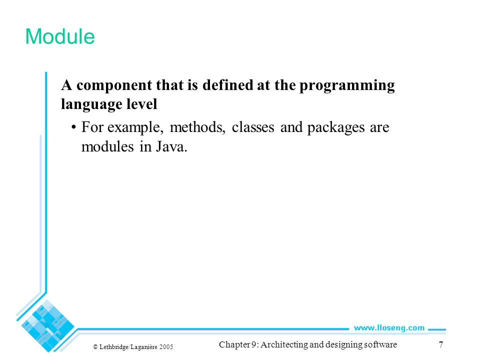 © Lethbridge/Laganière 2005 Chapter 9: Architecting and designing software38 External coupling When a module has a dependency on such things as the operating system, shared libraries or the hardware It is best to reduce the number of places in the code where such dependencies exist.
