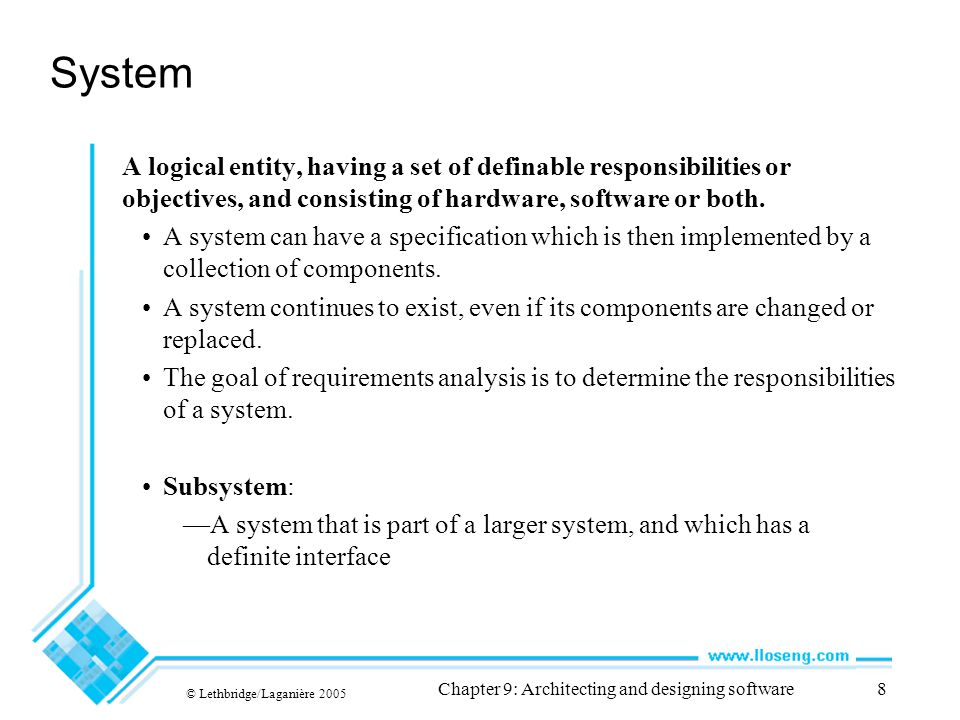 © Lethbridge/Laganière 2005 Chapter 9: Architecting and designing software9 UML diagram of system parts