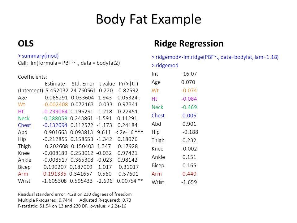 Body Fat Example OLS > summary(mod) Call: lm(formula = PBF ~., data = bodyfat2) Coefficients: Estimate Std. Error t value Pr(>|t|) (Intercept) 5.45203