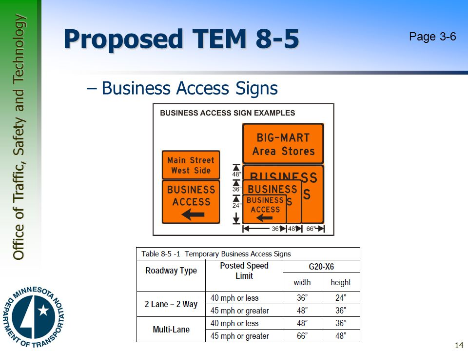 Office of Traffic, Safety and Technology Proposed TEM 8-5 –Business Access Signs 14 Page 3-6