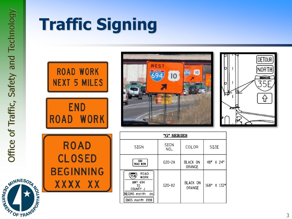 Office of Traffic, Safety and Technology Traffic Signing  Guide Signs –Guidance through work zones –Should not interfere with necessary regulatory and warning signs –Common: Advance Notice Guide Sign Those with date Those with exact location 3