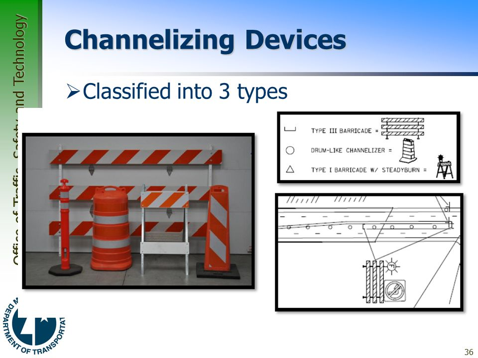 Office of Traffic, Safety and Technology Channelizing Devices  Classified into 3 types –Type A –Type B –Type C 36