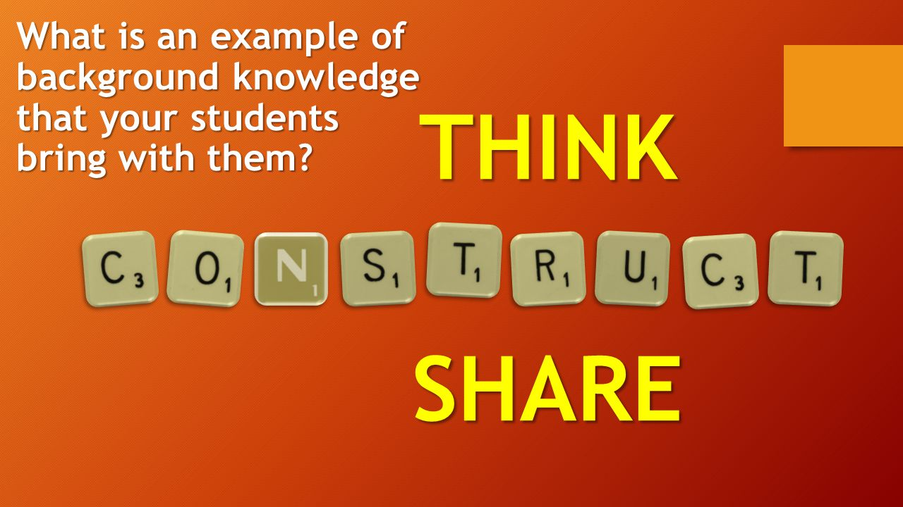 THINKSHARE What is an example of background knowledge that your students bring with them