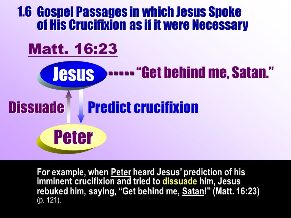 For example, when Peter heard Jesus' prediction of his imminent crucifixion and tried to dissuade him, Jesus rebuked him, saying, Get behind me, Satan! (Matt.