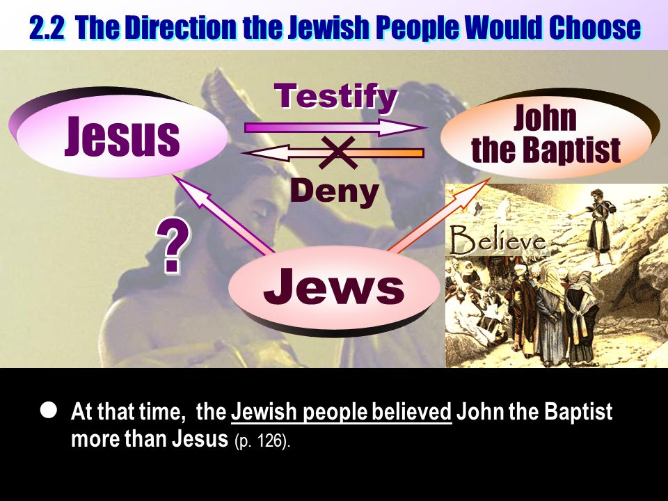 2.2 The Direction the Jewish People Would Choose Deny Testify Jesus Jewish people Jews John the Baptist John the Baptist At that time, the Jewish people believed John the Baptist more than Jesus (p.