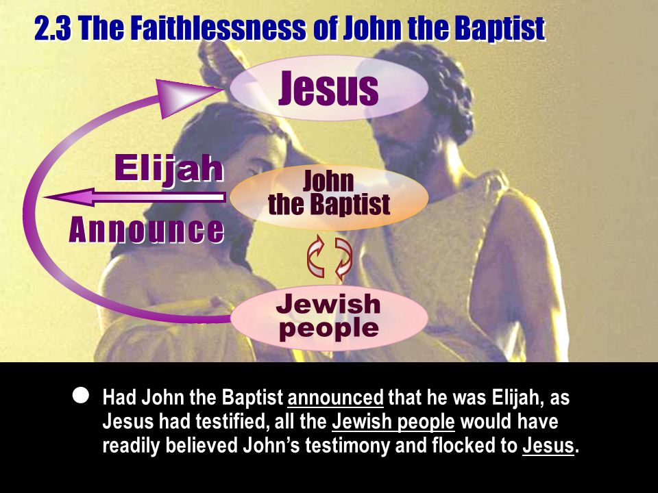 Had John the Baptist announced that he was Elijah, as Jesus had testified, all the Jewish people would have readily believed John's testimony and flocked to Jesus.