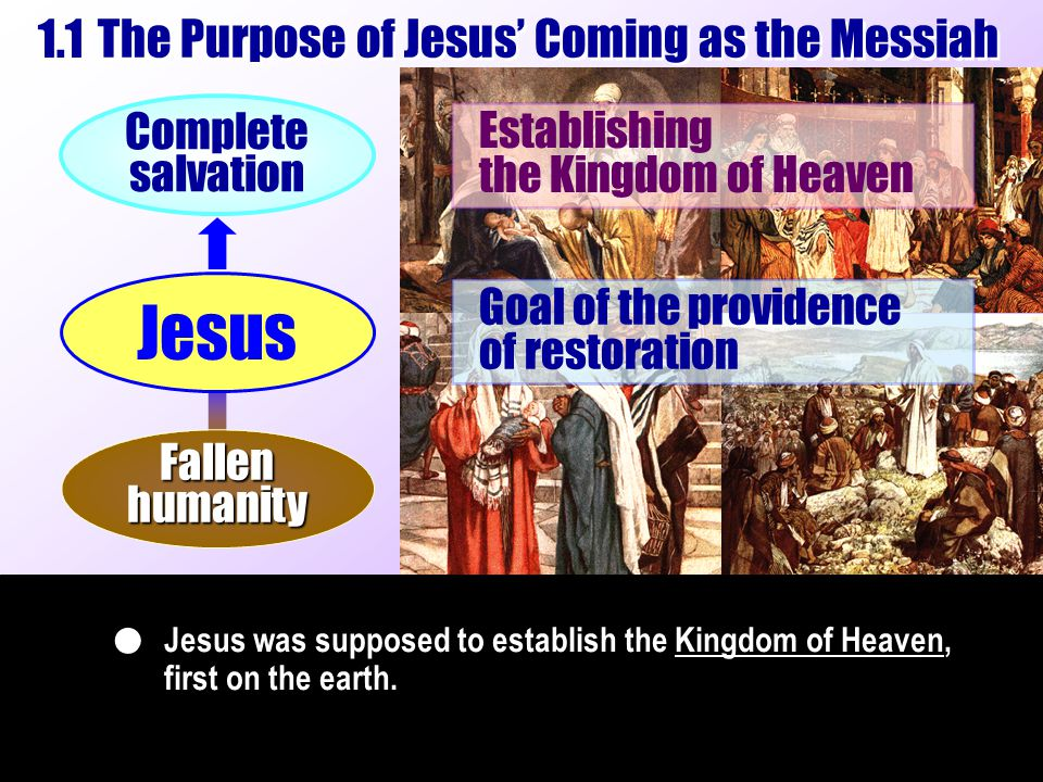 ll : : Jesus was supposed to establish the Kingdom of Heaven, first on the earth.  Establishing the Kingdom of Heaven Complete salvation Goal of the