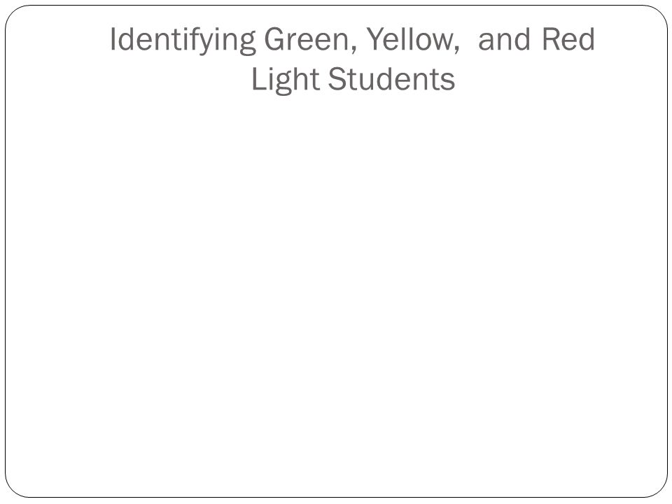Identifying Green, Yellow, and Red Light Students