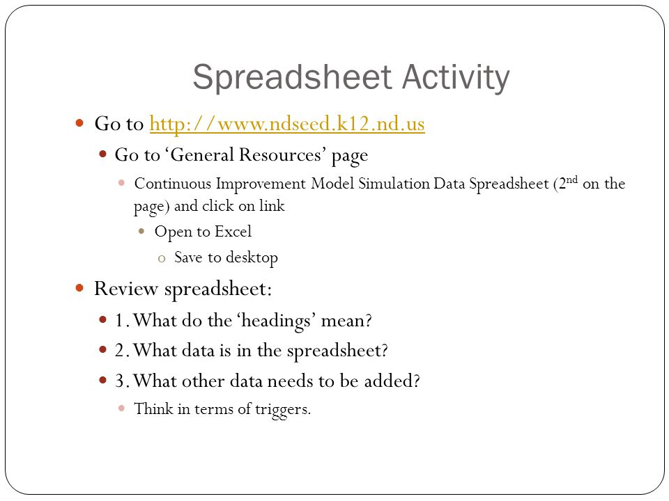 Spreadsheet Activity Go to http://www.ndseed.k12.nd.ushttp://www.ndseed.k12.nd.us Go to 'General Resources' page Continuous Improvement Model Simulation Data Spreadsheet (2 nd on the page) and click on link Open to Excel oSave to desktop Review spreadsheet: 1.