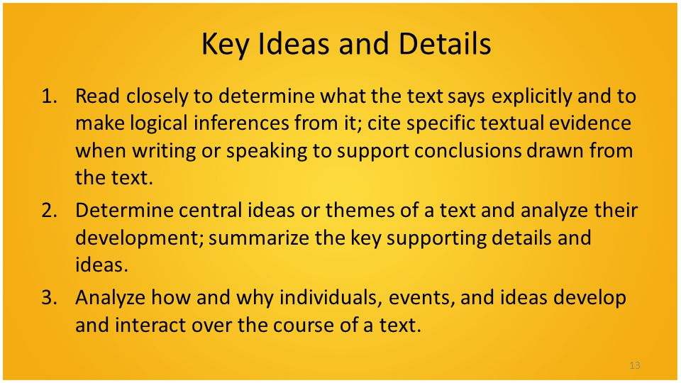 Key Ideas and Details 1.Read closely to determine what the text says explicitly and to make logical inferences from it; cite specific textual evidence when writing or speaking to support conclusions drawn from the text.