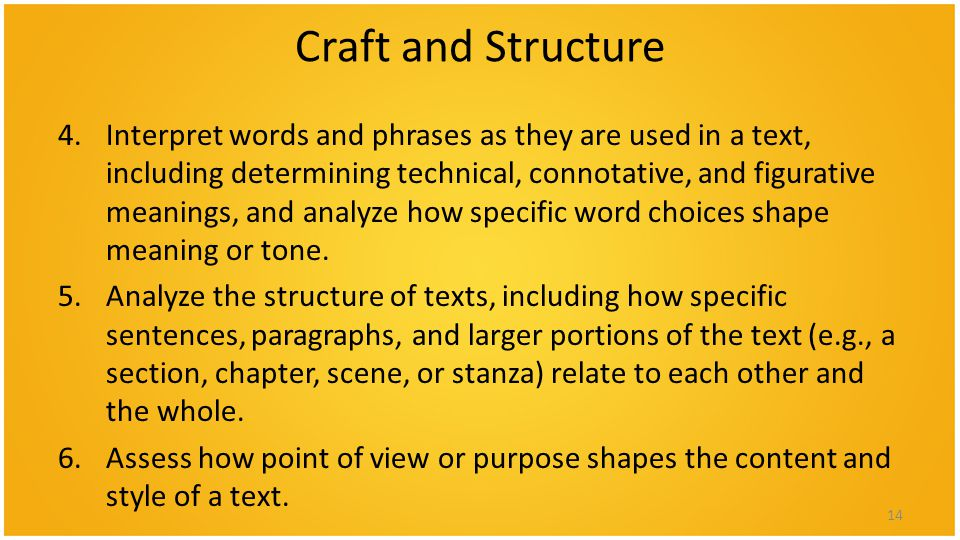 Craft and Structure 4.Interpret words and phrases as they are used in a text, including determining technical, connotative, and figurative meanings, and analyze how specific word choices shape meaning or tone.