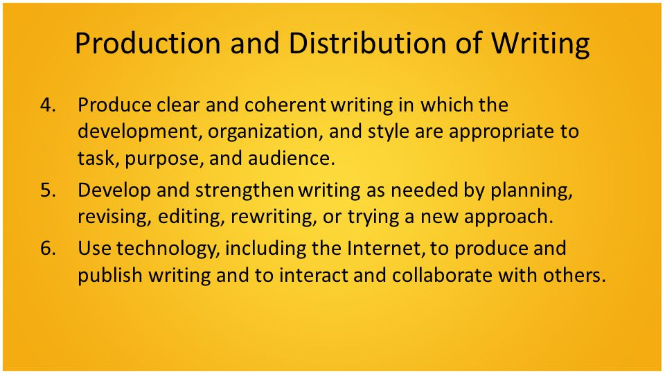 Production and Distribution of Writing 4.Produce clear and coherent writing in which the development, organization, and style are appropriate to task, purpose, and audience.