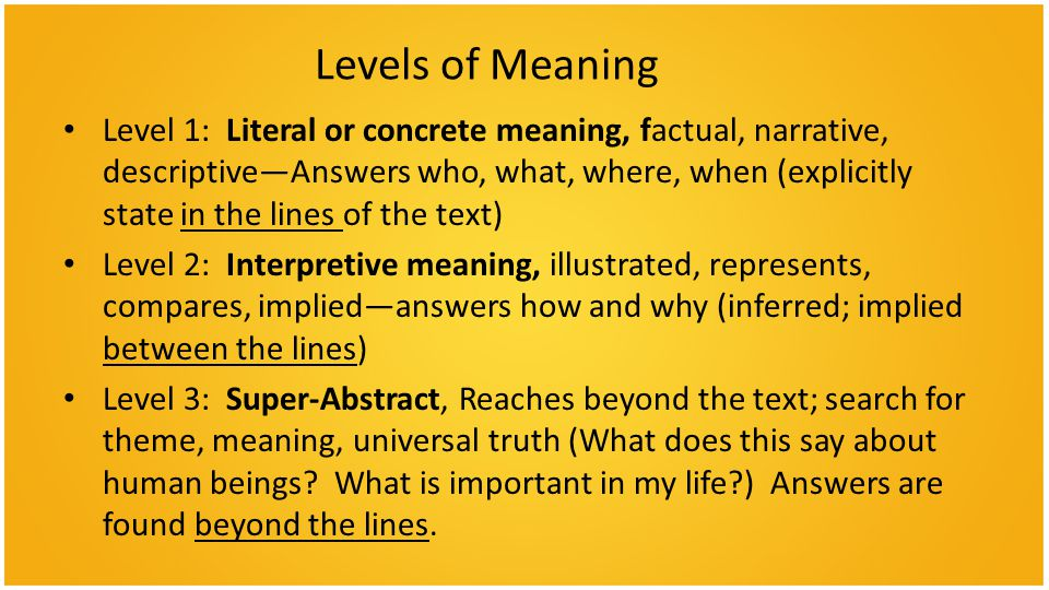 Levels of Meaning Level 1: Literal or concrete meaning, factual, narrative, descriptive—Answers who, what, where, when (explicitly state in the lines of the text) Level 2: Interpretive meaning, illustrated, represents, compares, implied—answers how and why (inferred; implied between the lines) Level 3: Super-Abstract, Reaches beyond the text; search for theme, meaning, universal truth (What does this say about human beings.