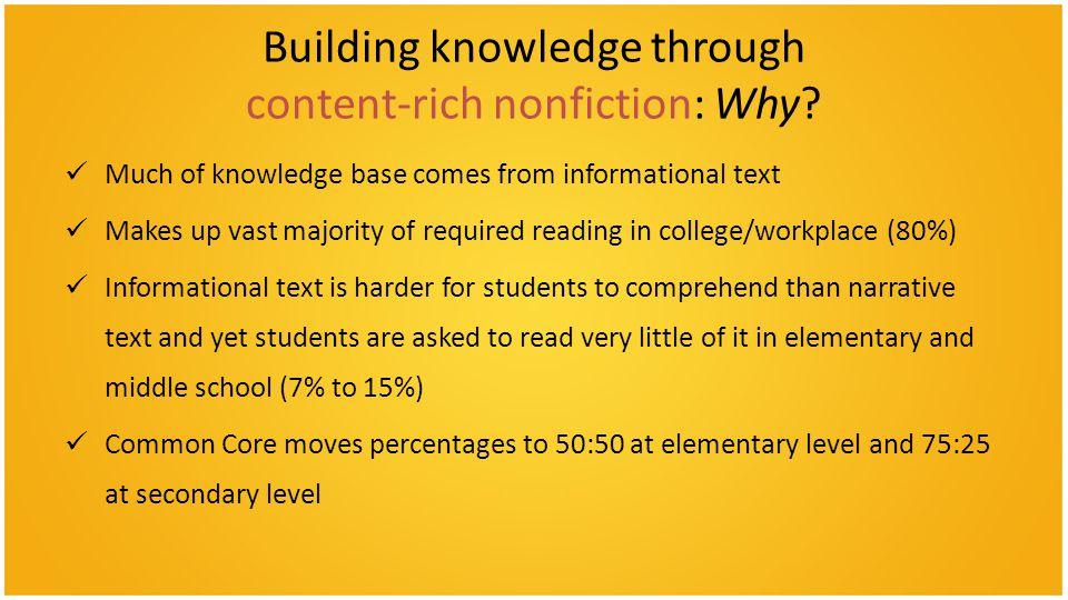 Building knowledge through content-rich nonfiction: Why.