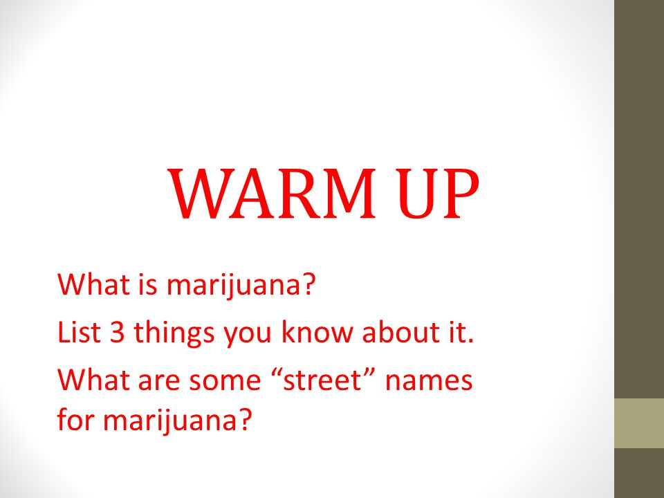 WARM UP What is marijuana. List 3 things you know about it.