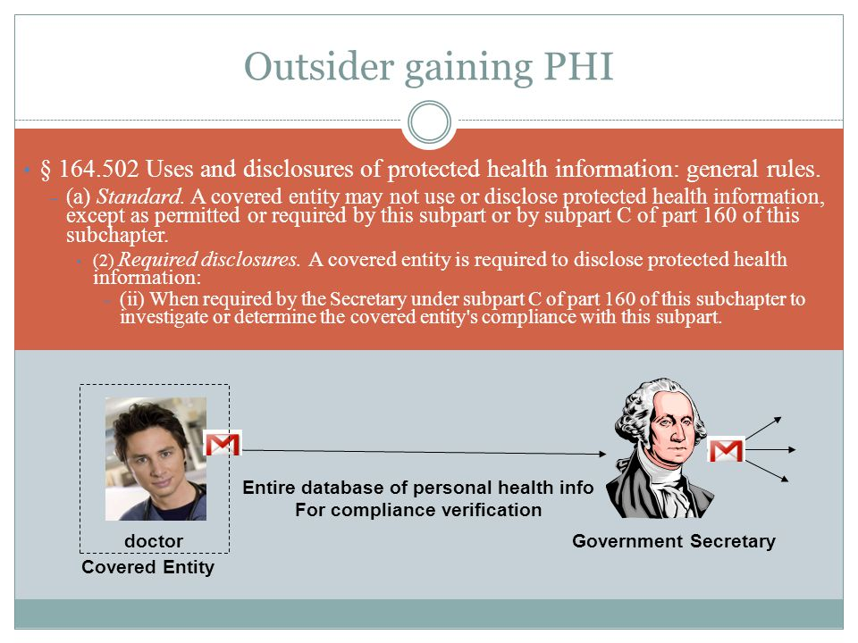 Outsider gaining PHI § 164.502 Uses and disclosures of protected health information: general rules.