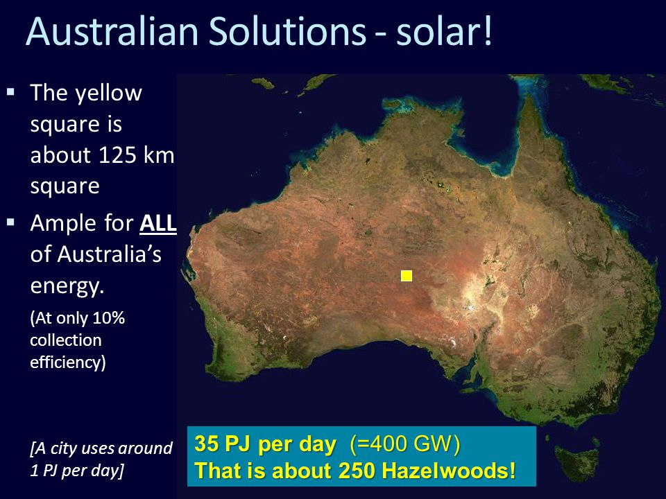  The yellow square is about 125 km square  Ample for ALL of Australia's energy.