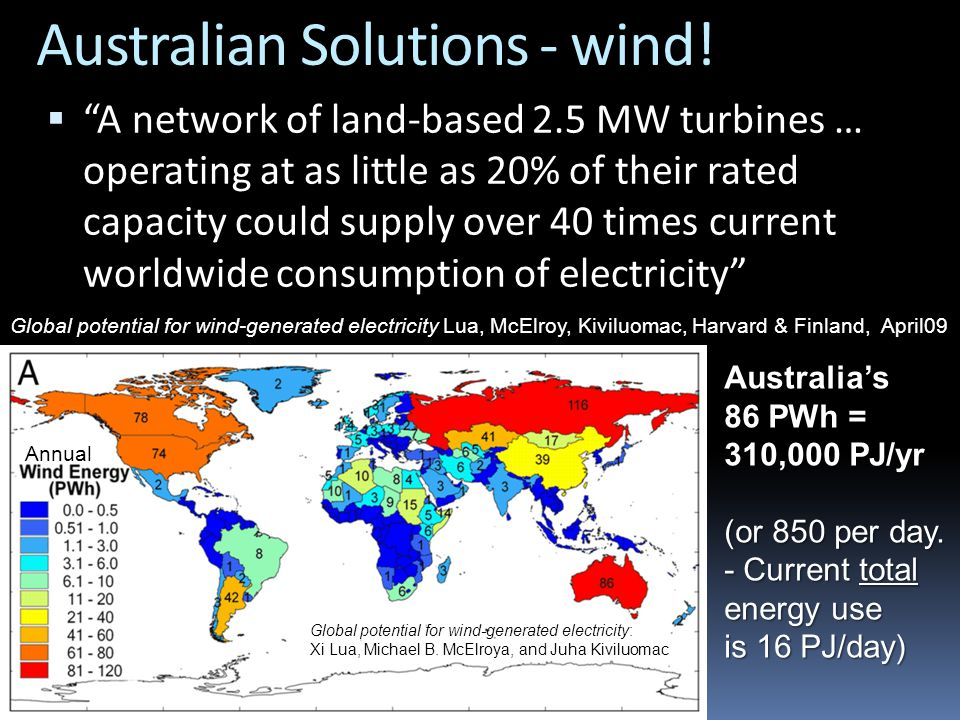"Australian Solutions - wind!  ""A network of land-based 2.5 MW turbines … operating at as little as 20% of their rated capacity could supply over 40 t"