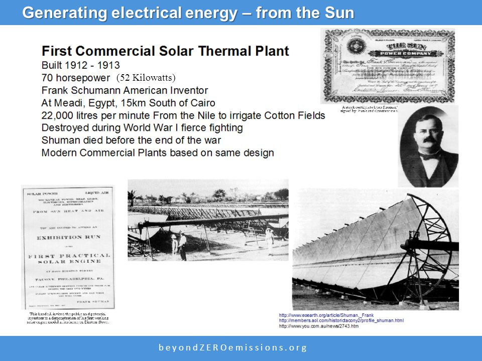 b e y o n d Z E R O e m i s s i o n s. o r g (52 Kilowatts) Generating electrical energy – from the Sun
