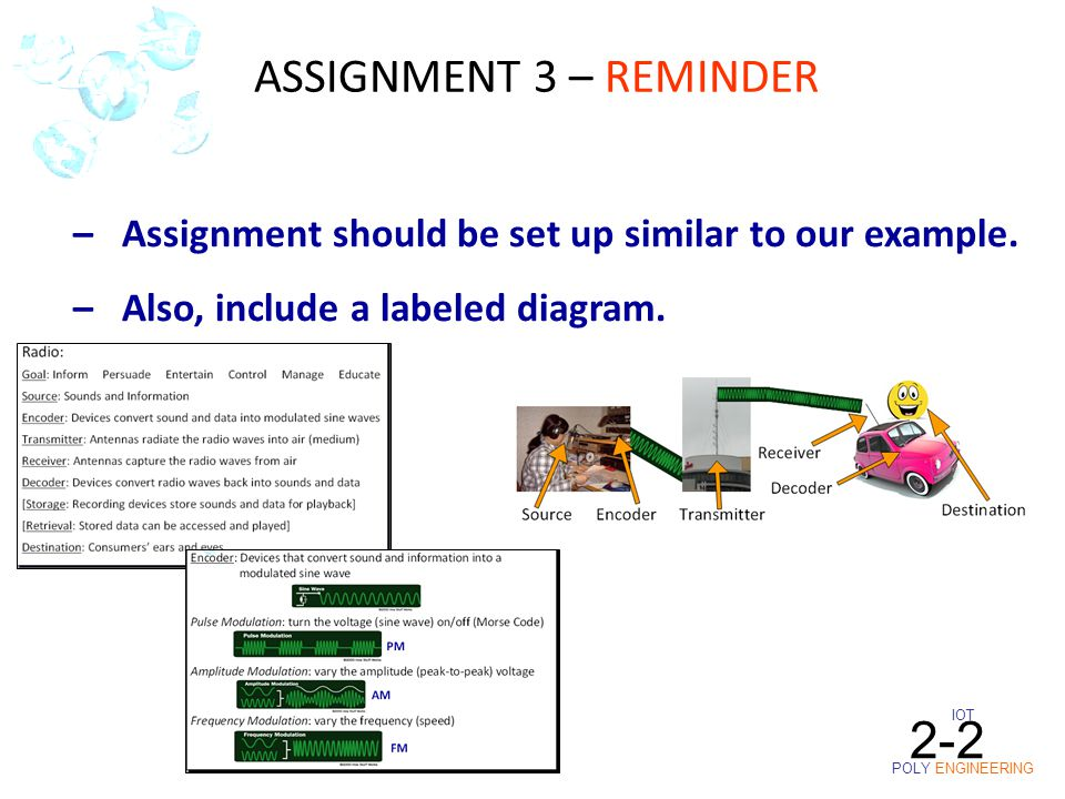 IOT POLY ENGINEERING 2-2 – Assignment should be set up similar to our example.