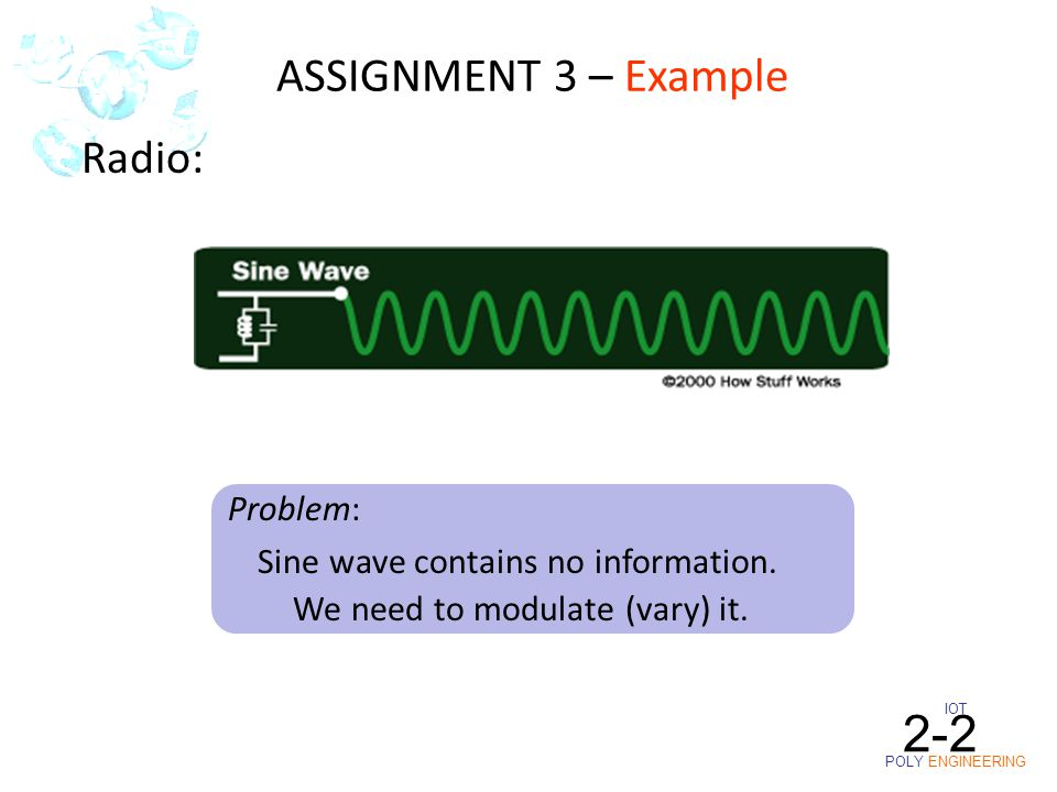 IOT POLY ENGINEERING 2-2 Radio: Sine wave contains no information. We need to modulate (vary) it. Problem: ASSIGNMENT 3 – Example
