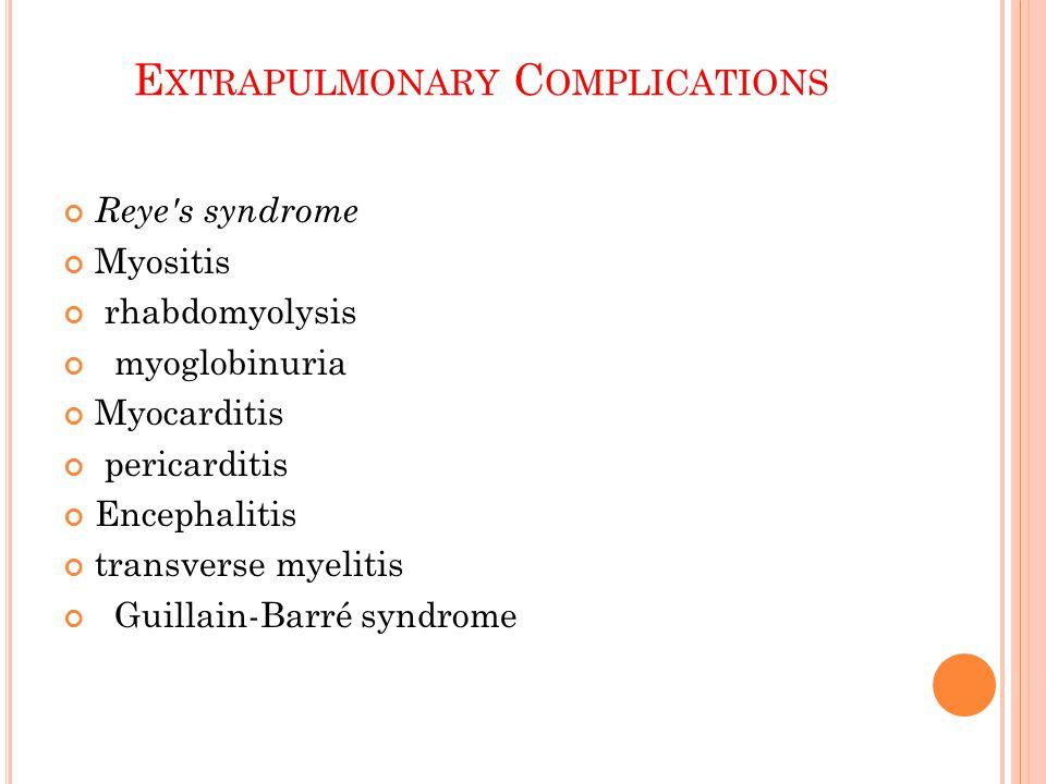 E XTRAPULMONARY C OMPLICATIONS Reye s syndrome Myositis rhabdomyolysis myoglobinuria Myocarditis pericarditis Encephalitis transverse myelitis Guillain-Barré syndrome