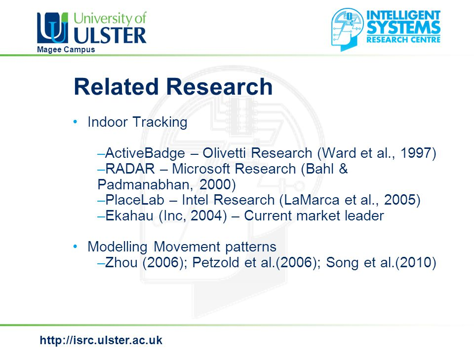 http://isrc.ulster.ac.uk Magee Campus Bayesian Filtering  Bayes filter is commonly used in robotics as a method to infer the position of a robot.