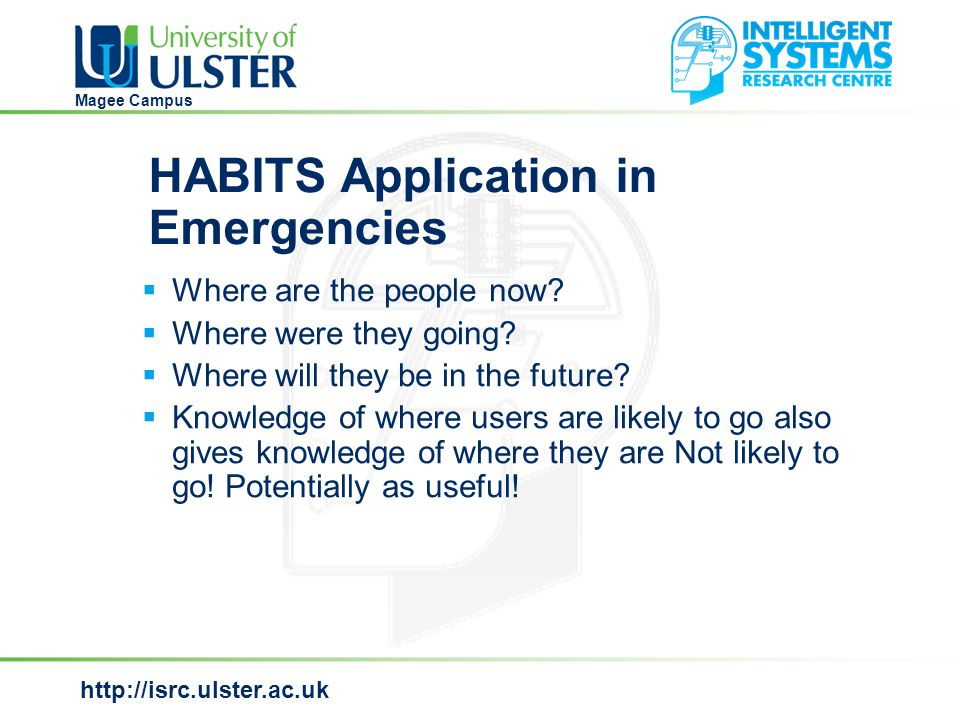 http://isrc.ulster.ac.uk Magee Campus HABITS Application in Emergencies  Where are the people now.