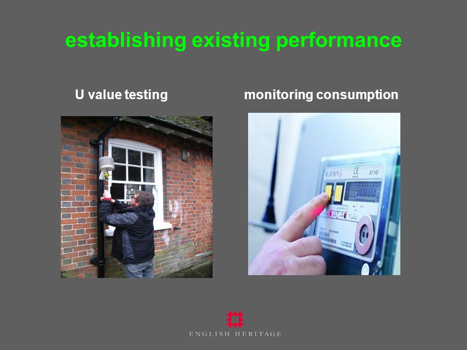 establishing existing performance U value testing monitoring consumption