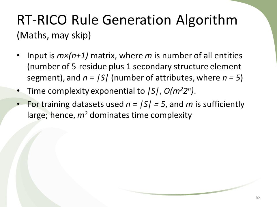 RT-RICO Rule Generation Algorithm (Maths, may skip) Input is m×(n+1) matrix, where m is number of all entities (number of 5-residue plus 1 secondary s