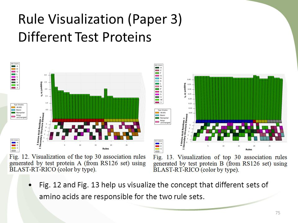 Rule Visualization (Paper 3) Different Test Proteins 75 Fig. 12 and Fig. 13 help us visualize the concept that different sets of amino acids are respo