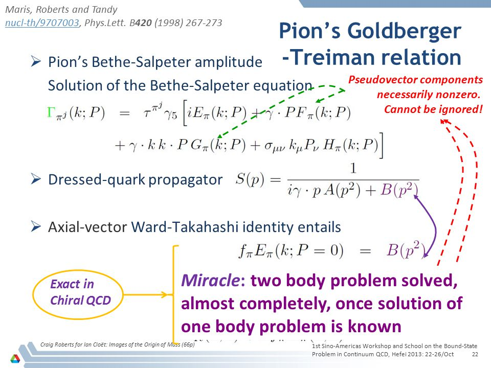Pion's Goldberger -Treiman relation Craig Roberts for Ian Cloët: Images of the Origin of Mass (66p) 22  Pion's Bethe-Salpeter amplitude Solution of t